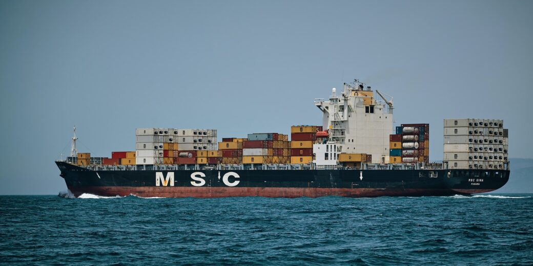 freight ship in the ocean